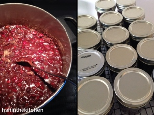 preserves cooking and jars on cooling rack