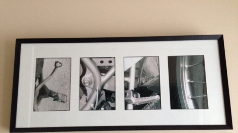 """framed motorbike parts that spell """"kyle"""""""