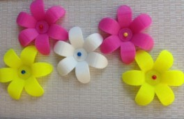 pink, yellow and white 3-D printed flowers