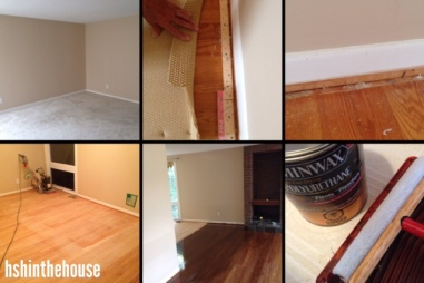 the process of refinishing floors in 6 pictures