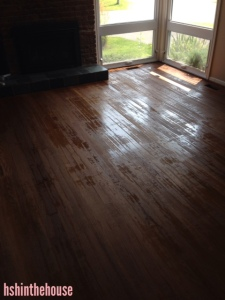 hardwood floors with spotty glaze coverage