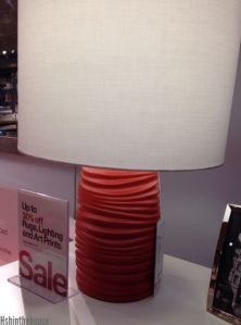 coral and white lamp, crate and barrel