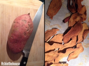 split screen picture: a sweet potato and baked sweet potato chips