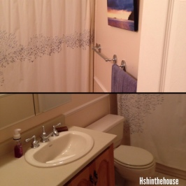 before pictures of a pale pink bathroom