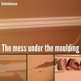moulding and scarred drywall underneath it