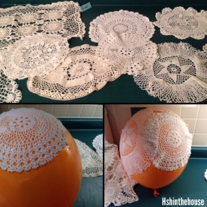 gluing doilies to a balloon