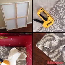 4 pics of covering canvas with fabric