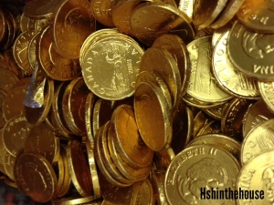 gold foil wrapped chocolate coins