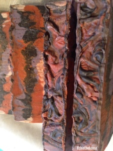 ugly black, orange and purple soap