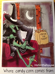 witch comic with candy corn feet!