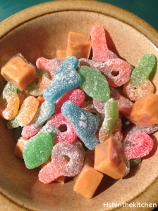 sugar coated candy in a bowl