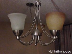 old and new shades on chandelier