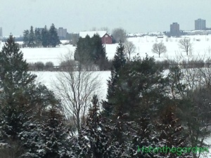 farm covered in snow with one red building