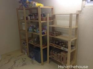 food on storage shelves