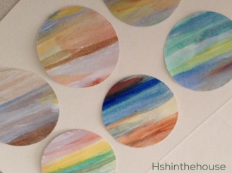 painted circles on white cards