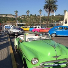green and colourful 1950's cars