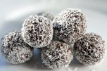 chocolate rum balls on white plate