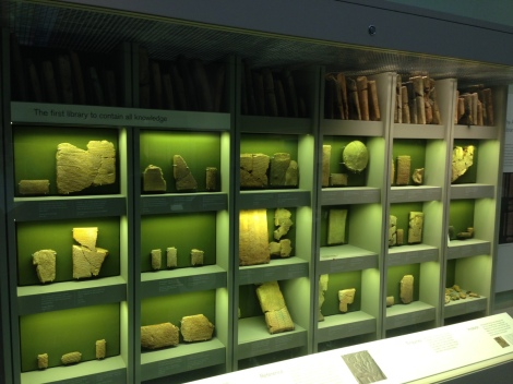 oldest library: stone tablets in boxed display